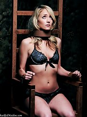 Cute blonde sitting on a rusty iron chair