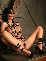 Sexy brunetter sitting tied up and blindfolded gets mass..